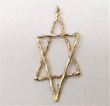 Vtg 14K Gold Star of David Pendant Large Jewish Symbol Woven Textured Judaica