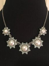 LUCKY BRAND Silver-Tone Pearl & Blue Stone Floral Collar Necklace NWT $45 L@@K!!