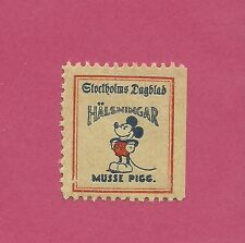 Mickey Mouse Walt Disney - Scarce Original Vintage 1930s Swedish Stamp