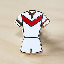 RED & WHITE RUGBY LEAGUE V STYLE KIT ENAMEL BADGE - HULL KR & ST HELENS COLOURS