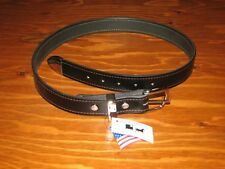 NEW Handcrafted Black Leather Belt & Silver-tone Hardware Size Small USA Made