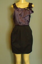 BCBG MAX AZRIA M Dress Purple Bling Ruffle Satin Top Black Skirting Cocktail