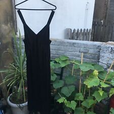 BNWT H&M black satin midi strappy slip dress - Size 8 sexy side slit silky cami