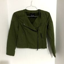 Madewell Soft Sidecar Motorcycle Jacket Biker Size XS Green Quilted Shoulder