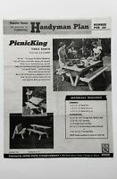 1954 PicnicKing Table Bench Handyman Plan NUMBER PUP 333~Picnic Table/Bench !!!