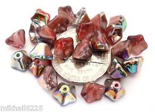25 5 x 8 mm Trumpet Flower Glass Beads: Vitrail - Red/White