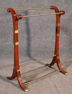 Belgium Directoire Style Solid Mahogany and Brass Towel or Clothing Butler Rack