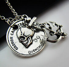 Free Tibetan Silver Anchors Skull Pirate treasure Pendant Charm chain Necklace