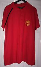 MANCHESTER UNITED S/SLEEVE POLO STYLE SHIRT  ~  SIZE M  ~  RED  ~  FREE POSTAGE