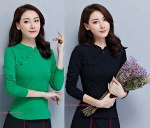 Womens Chinese Style Folk Cotton T-shirt Long Sleeve Comfott Stretchy Tops Retro