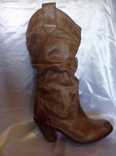 New Look Brown Mid Calf Leather Boots Size 8