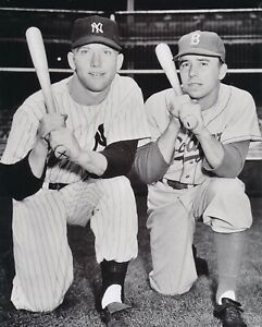 mickey mantle yankees and pee wee reese dodgers 8x10 photo 1956 world series