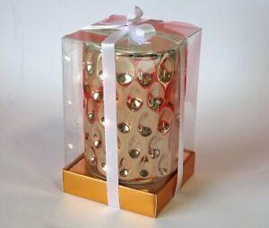 "Salt & Pepper Brand ""Glow"" Candle in Dimpled Rose Gold Ceramic Pot ~ New"