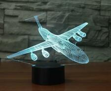 3D Airplane 7 Color LED Night light Party Desk USB Lamp USPS Big Size Gifts