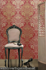 Deep Red, Gold & Cream With Gold Glitter, Indian Inspired Damask Wallpaper