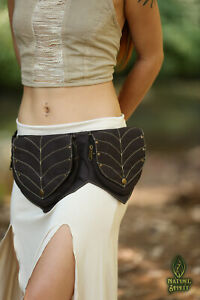 2 Leaf Pixie Pocket Belt, Cotton Canvas Utility Festival Boho Psytrance Vegan