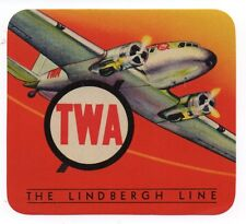 1940s TWA The Lindbergh Line Luggage Label