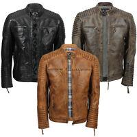 Mens Genuine Real Leather Biker Jacket Vintage Moto Style Distressed Brown Black