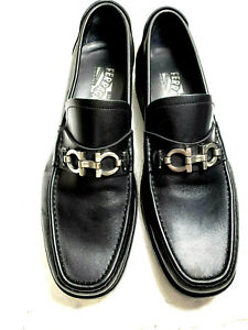 Salvatore Ferragamo Men bit Loafers slipon 8 1/2 EE Black calf leather solid