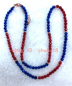 New 4mm Red Ruby & Blue Sapphire Round Faceted Gemstone Necklace 18 inches