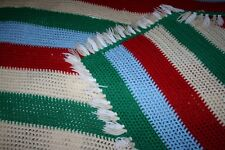 "Vintage Handmade Fringed Christmas Stripe Red Crochet Afghan Throw Knit 64"" 74"""
