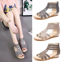 Summer Sexy Women High Heels Gladiator Hollow Leather Sandals Wedge Casual Shoes