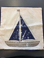 Kissenhülle Maritim Segelboot  Blau Beige 45x45 cm  Kissen Dekokissen