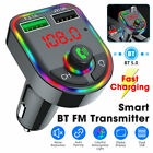 Bluetooth 5.0 FM Transmitter Hands-Free Radio MP3 AUX Adapter 2 USB Charger USA