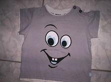 """Cooles Sommer-Shirt """"Gesicht""""Motiv, grau, neuw.  Gr.80"""