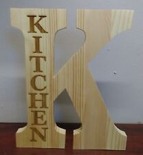 FREE STANDING LARGE WOODEN Letter Laser Engraved K with kitchen