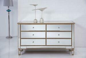 CONSOLE CABINET CONTEMPORARY BRUSHED STEEL GOLD BLACK SOLID WOOD HA