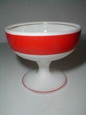 Hazel Atlas Glass White Platonite w Red Band Sherbet/s - Rare (loc-big)