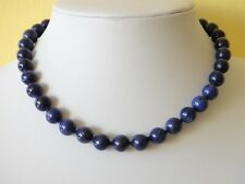 "Blue Lapis Lazuli Necklace 10mm Lapis Beads 18"" Necklace Hand Knotted Deep Blue"