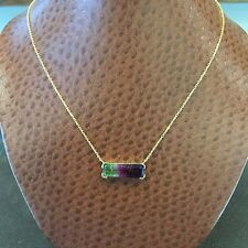 "14KT Handmade Yellow Gold Watermelon Tourmaline Pendant w/19"" Cable Link Chain"