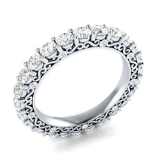 Round Cut White Sapphire Women 925 Silver Jewelry Elegant Wedding Ring Size 6-10
