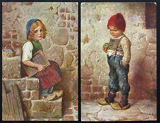 1910's Postcard Lot ~ HANSEL and GRETEL ~ by Artist Kaulbach ~ 2 postcards