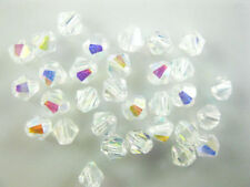 Bulk 200pcs Half Clear AB Glass Crystal Faceted Bicone Beads 4mm Spacer Findings