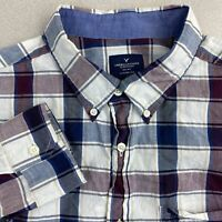American Eagle Button Up Shirt Mens XL Blue Burgundy White Classic Fit Plaid