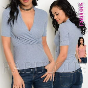 New Women's Top Wrap Style Shirt Short Sleeve Stretchy Size 6 8 10 XS S M