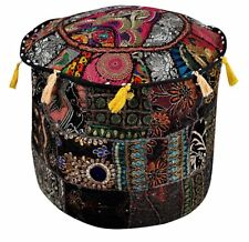 Vintage Pouffe Boho Patchwork Embroidered Ottoman Cover Indian Pouf Footstool 22