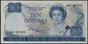 New Zealand Queen Elizabeth II. $ 10 Banknote 1985-89 #172b