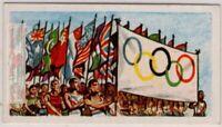 1956 OLYMPICS Closing Flag Parade Ceremony  Vintage Trade Ad Card