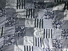 Fleece Backed Patchwork Bed Cover/Blanket/Throw 184 x 115 cm, blue and white