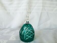 Vintage Crystal Bell Teal Green Cut to Clear 7¼� Rare