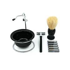 Gabri Shaving Set: Bowl, Brush, Razor + Blades & Stand Barbers Professional Kit