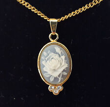 "WHITE ROSE ON BLUE CAMEO NECKLACE WITH 3 FAUX DIAMONDS ON GOLD TONE 18"" CHAIN"