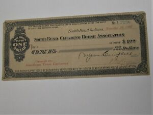South Bend IN Indiana Clearing House Association $1 Check 1907 American Trust Co
