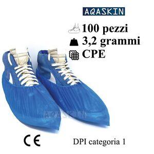 100 pezzi Copriscarpe Monouso calzari copri scarpa usa e getta DPI 3,2 grammi