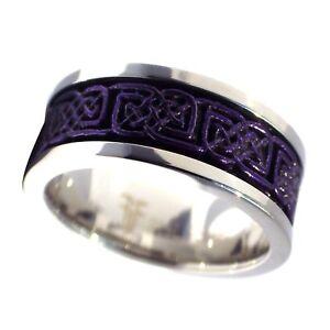 Dark Purple Celtic Spinner Ring Womens Mens Stainless Steel Thumb Band Size 5-14