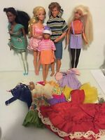 "Lot of 5 Vintage 1960s Barbie Dolls w/ Ken & Clothing ""Straight Legs"""